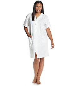 Miss Elaine® Plus Size Short Sleeve Zip Robe