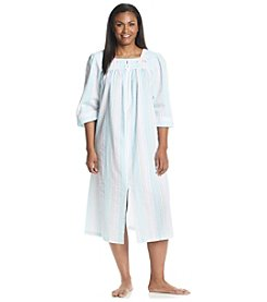 Miss Elaine® Plus Size Stripe Zip Robe