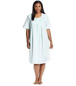 Miss Elaine® Plus Size Aqua Snap Button Robe