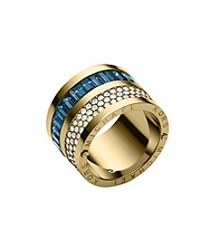 Michael Kors® Montana Baguettes Barrel Goldtone Ring