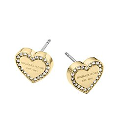 Michael Kors® MK Logo Heart Goldtone Post Earrings