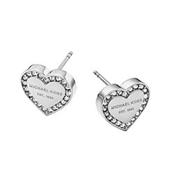 Michael Kors® MK Logo Heart Silvertone Post Earrings