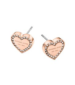Michael Kors® MK Logo Heart Rose Goldtone Post Earrings