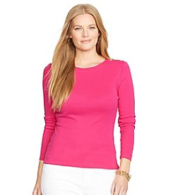 Lauren Active® Plus Size Long-Sleeved Crewneck Top