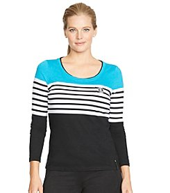 Lauren Active® Plus Size Color-Blocked Cotton Top