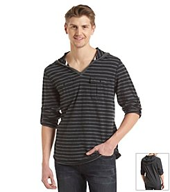 DKNY JEANS® Men's Slub-Knit Striped Henley Hoodie