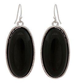Erica Lyons® Silvertone Drop Oval Pierced Earrings