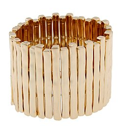 Erica Lyons® Sticks Wide Goldtone Stretch Bracelet