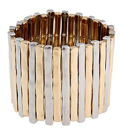 Erica Lyons® Sticks Wide Two-Tone Stretch Bracelet