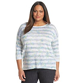 Relativity® Plus Size Printed Tunic Pullover