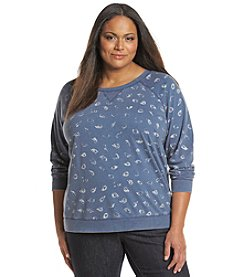 Relativity® Plus Size Long Sleeve Paisley Print Sweatshirt