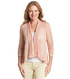 Ruby Rd.® Morrocan Sands Shawl Collar Crochet Cardigan