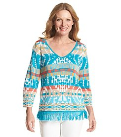 Ruby Rd.® Coral Canyon Abstract Stripe Pull Over Sweater