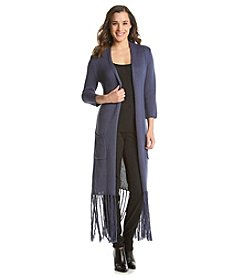 NY Collection Long Fringe Cardigan