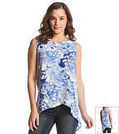 Cupio Floral Asymmetrical Woven Sleeveless Top