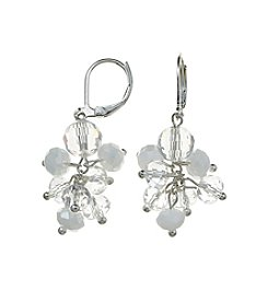 BT-Jeweled White and Silvertone Euro Cluster Earrings
