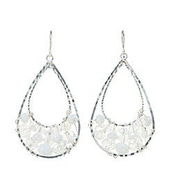 BT-Jeweled White and Silvertone Beaded Teardrop Earrings