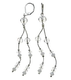 BT-Jeweled White and Silvertone Two Row Linear Earrings