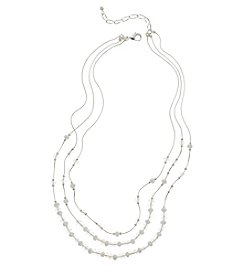 BT-Jeweled White and Silvertone Three Row Beaded Necklace