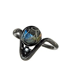 Ruff Hewn Burnished Silvertone Wrapped Pyrite Ring
