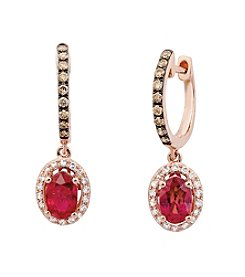 Effy® Lead Glass-Filled Ruby and 0.33 ct. t.w. Diamond Earrings in Rose Gold