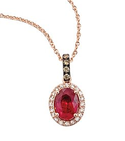 Effy® Lead Glass-Filled Ruby and 0.14 ct. t.w. Diamond Pendant in Rose Gold