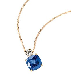 Effy® Manufactured Diffused Sapphire & 0.20 ct. t.w. Diamond Pendant