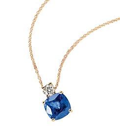 Effy® Manufactured Diffused Sapphire & 0.20 ct. t.w. Diamond Pendant