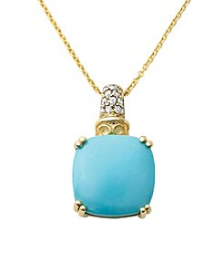 Effy® Turquoise and 0.07 ct. t.w. Diamond Pendant Necklace