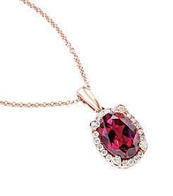 Effy® Rhodolite, Garnet and 0.09 ct. t.w. Diamond Pendant Necklace in Rose Gold