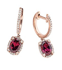 Effy® Rhodolite, Garnet and 0.26 ct. t.w. Diamond Earrings in Rose Gold