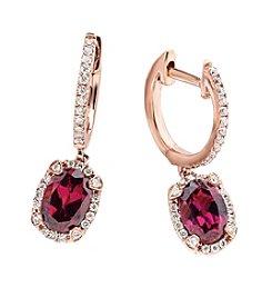 Effy® Rhodolite, Garnet and 0.26 ct. t.w. Diamond Earrings in Rose Gold