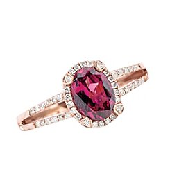 Effy® Rhodolite, Garnet and 0.20 ct. t.w. Diamond Ring in Rose Gold