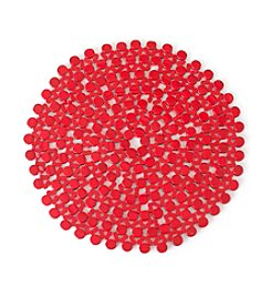 LivingQuarters Bamboo Bead Red Round Placemat