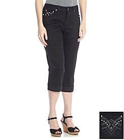 Earl Jean® Bling V-Pocket Cuff Capri Jeans