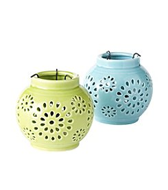 LivingQuarters Porcelain Round Candle Holder