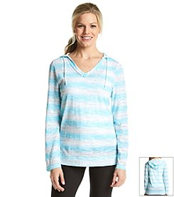 Exertek® Long Sleeve Slub Knit Brushstroke Print Tunic