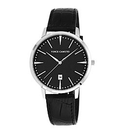 Vince Camuto™ Men's Black Crocograin Leather Strap Watch