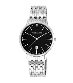 Vince Camuto™ Men's Stainless Steel Bracelet Watch with a Black Glossy Dial