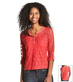 Sequin Hearts® Lace Utility Shirt