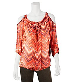 A. Byer Chevron Cold Shoulder Blouse