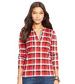 Lauren Jeans Co.® Petites' Plaid Cotton Henley Shirt