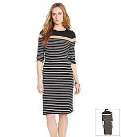 Lauren Ralph Lauren® Petites' Striped Cotton Crewneck Dress