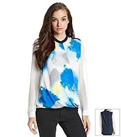 DKNYC® Drape Front Colorblock Blouse