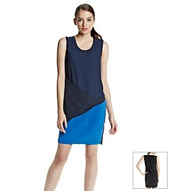 DKNYC® Tech Crepe With Chiffon Dress