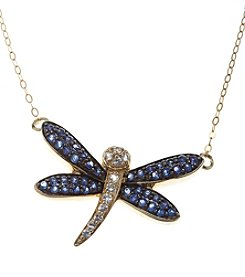 Sapphire and Diamond Accent Dragonfly Pendant in 10K Gold