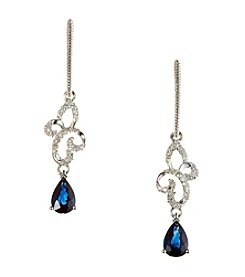 Sapphire & 0.12 ct. t.w. Diamond Earrings in 10K White Gold