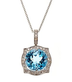 Effy® Blue Topaz & 0.13 ct. t.w. Diamond Pendant in White Gold