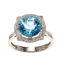 Effy® Blue Topaz & 0.16 ct. t.w. Diamond Ring in White Gold