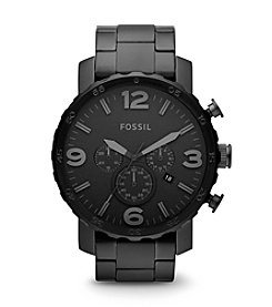 Fossil® Men's Nate Blacktone Bracelet and Dial Watch